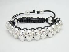 MENS Shamballa SILVER SKULL RHINESTONE Beaded Adjustable Bracelet