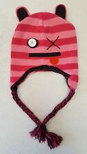 Girls Winter Cap Hat Warm Pink Striped Cat