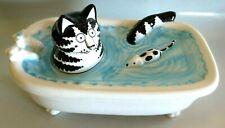 Vtg Ceramic B Kliban Cat In Bath Tub w/ Mouse Trinket Dish, Sigma Tastesetter
