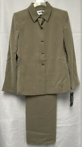 Kasper 2 Piece Pants and Jacket Ensemble Suit Petite Size 6 Dark Beige NWT NEW