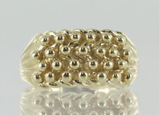 Hallmarked 9ct Yellow Gold 4 Row Keeper Ring REF8