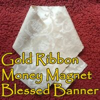Gold Ribbon Money Magnet Voodoo Banner Altar Cloth Ritual Spell Kit Success Cash