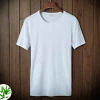 Men's Summer Casual Bamboo Fiber Round Collar T-Shirt Top Undershirts Plus Size