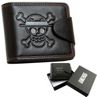 Anime One Piece Luffy Black Wallet Purse Embossed with Luffy Skull Mark Gift