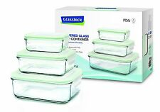 6 Pc Glasslock GL-135 Tempered Glass Food Storage Containers, BPA Free ~ NIB