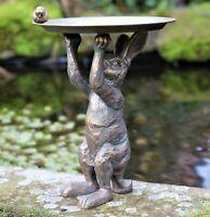 Garden Ornament Bird Feeder Hare Rabbit Statue Decoration Statue Copper effect
