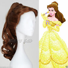 Disney Movie Beauty and the Beast Belle Curly Anime Cosplay Wig with Ponytail