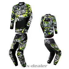 O'Neal Element Attack Nero Pantaloni Tuta MX Motocross Enduro Quad Combinato