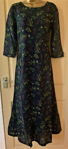 SEASALT Black Floral Print Levant Fields Lined Maxi Dress - Size 10 to 26/28