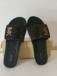 MICHAEL KORS PANTHER GLITTER MESH MK LOGO SLIDES SIZE 11M. BRONZE NEW WITH BOX
