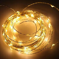 20 Warm White LED Micro Bulb light BATTERY INCLUDED party table centrepiece 2mtr