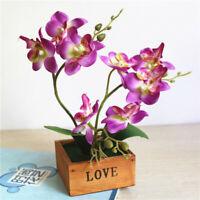 Artificial Orchid Bonsai Faux Flower Wooden Potted Plants Wedding Party Decor