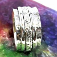 Solid 925 Sterling Silver Spinner,Meditation Ring Statement Ring size 11 RR 311