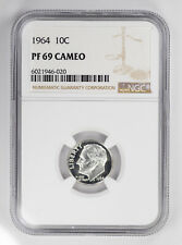 1964 PROOF ROOSEVELT DIME 10C NGC CERTIFIED PF 69 UNCIRCULATED - CAMEO (020)