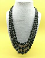 Vintage Art Deco Black French Jet Triple Strand Bib Collar Necklace Mourning