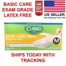 100 PCS Vinyl Gloves Clear Powder Free NON Latex EXAM Gloves SHIPS TODAY NOW!