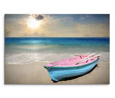 120x80cm Leinwandbild auf Keilrahmen Strand Sonne Meer Paddelboot