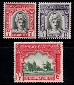 Bahawalpur, Bahawalpur 1948 Mi. 5-7 MNH 100% monuments, Sadiq Mohammed
