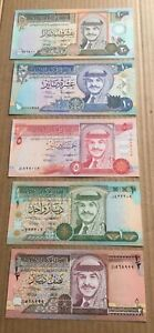 1992 Jordan Complete Set of 5 Banknotes 1/2 1 5 10 20 Dinar P-23 24 25 26 27 UNC