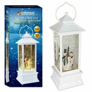 Christmas LED Water & Glitter Snowman Lantern White