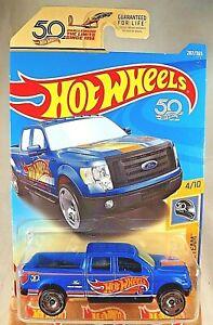 2018 Hot Wheels #287 HW 50th Race Team 4/10 2009 FORD F-150 Blue w/50th Slot Sp