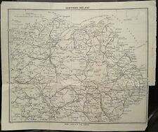 Irish Map NORTHERN IRELAND Six Counties Belfast Derry Ward Lock & Co 9.5x11.25