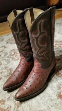SEDONA WEST OSTRICH QUILL PRINT & LEATHER J TOE COWGIRL BOOTS #5401 WOMEN'S 8.5B