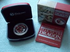 2012 Australian Silver Lunar DRAGON 1 OZ PROOF Colorized with box and COA