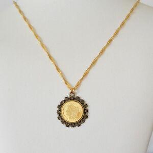 Morgan 1/4 oz Coin Necklace Antiqued Brass Bezel Pendant 24K Gold Plated 15 - 36