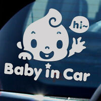 """""""Baby In Car"""" Waving Baby on Board Safety Sign Cute Car SUV Decal PET Sticker"""