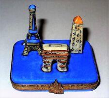 Limoges Box - Paris Landmarks - Eiffel Tower & Arc De Triomphe & Luxor Obelisk