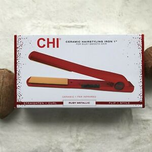 "CHI 1"" Ceramic Hairstyling Iron for Silky Smooth Hair - Red Ruby Metallic - NIB"