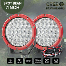 Pair 7inch CREE SPOT LED Driving Lights Round Off Road 4x4 Spotlights Red