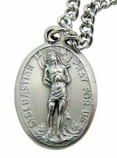 "St. Sebastian Saint Metal 3/4"" Italy Medal w/ Chain Pendant Necklace"