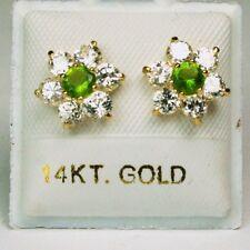 14K solid yellow gold star shape Peridot/white Topaz earring screw back 3.4 TCW
