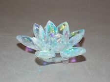 NEW CRYSTAL GLASS PRISM LOTUS FLOWER WITH ATTACHED BASE FENH SHUI  SUN CATCHER