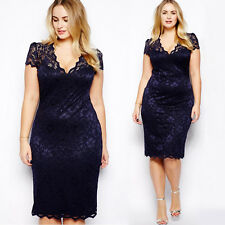 UK Womens Lace Bodycon Ladies Formal Prom Evening Party Cocktail Dress Plus Size