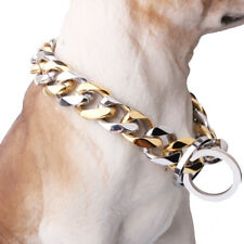 """Huge 17mm Stainless Steel Silver Gold Tone Curb Chain Pet Dogs Choker Collar 24"""""""