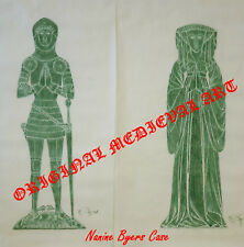 1968~ENGLISH RUBBING~J.COMPTON ESQUIRE IN ARMOR & WIFE~YEAR 1424~ORIG BY ARTIST