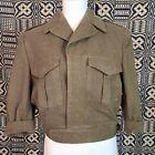 Vintage 1950s Canadian Army Green Wool Jacket Coat Battle Dress Blouse