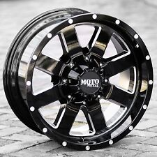 20x12 Black wheels Moto metal 962 2007-2018 LIFTED Jeep Wrangler 5x5 -44mm