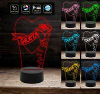 Cuore con rosa e nome personalizzabile IDEA REGALO Lampada LOVE a led 7 colori