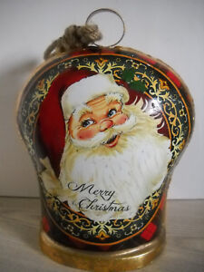 LARGE CHRISTMAS BELL SANTA CLAUS RED GREEN PLAID GOLD 'VINTAGE' LOOK AND LOUD!