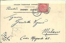 GIBRALTAR -  POSTAL HISTORY: POSTCARD to ITALY - 1902