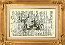 ORIGINALE-Sea Monster stampato sulla pagina di dizionario VINTAGE PRINT-WALL ART PICTURE