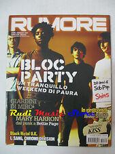 Rivista RUMORE 180/2007 Bloc Party Giardini Di Miro' Arab Strap Betty Page NO*cd