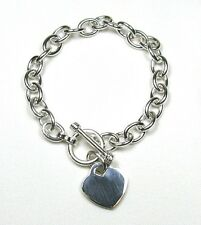 "Heart Charm Toggle Solid Sterling Silver Bracelet (Med) Plus Size 8.5"""