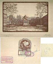 1928 TORINO PIAZZA SOLFERINO ACQUALAGNA  Xilografia M. Alessandri numerata