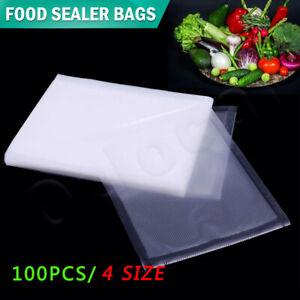 100 X Vacuum Sealer Bags Precut Food Storage Saver Heat Seal Cryovac 4 Size New