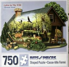 "Cabin In The Wild Thomas Wood Bits and Pieces 750 Shaped Puzzle Complete 27""x20"""